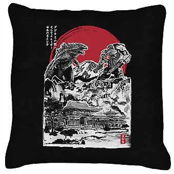Godzilla Attack On Japan Temple Black Cushion