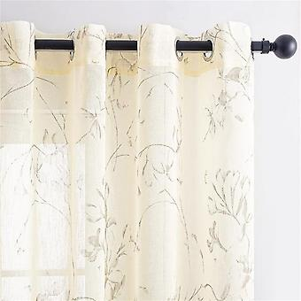 Flower Pattern Tulle/sheer Curtains For Living Room Bedroom Kitchen - Modern Flowers Window Voile Drapes