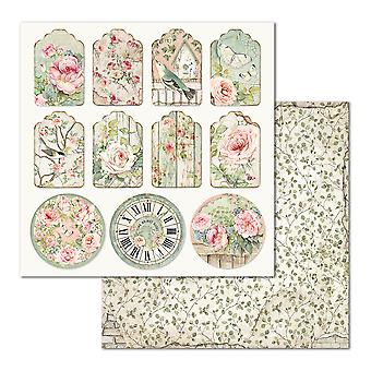 Stamperia Tag House of Roses 12x12 Tums pappersark (10st) (SBB677)