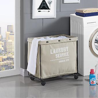 LY207, Danya B. Army Canvas Laundry Hamper on Wheels