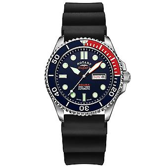 "Rotary Super 7 SCUBA ""Pepsi"" Automatisk Navy Blue Dial Silicone Strap Mænd's Dive Watch S7S004S"