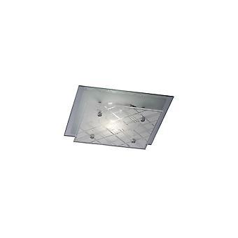 Flush Ceiling Square 1 Light Small Polished Chrome, Verre
