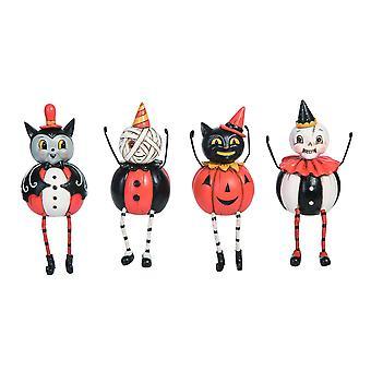 Ensemble de 4 Johanna Parker Design Vintage Look Pumpkin Body Figurines Halloween