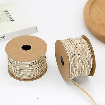 10m/roll Jute Burlap Rolls Hessian Ribbon With Lace Vintage Rustic Wedding