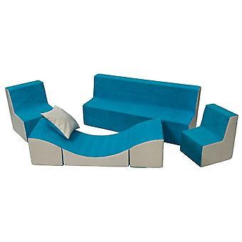 Kleinkind Möbel Set Schaum verlängert blau & beige