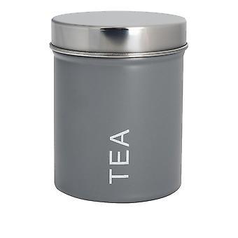 Zeitgenössische Tee-Kanister - Stahl Küche Lagerung Caddy mit Gummi-Siegel - grau