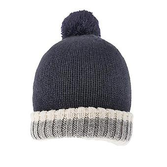 Warm Lined Knitted Hat with Pom Pom