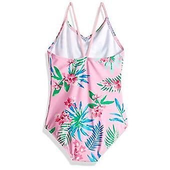 Kanu Surf Big Girls' Chloe Beach Sport 1-Piece Swimsuit, Leonie Floral Pink, 12