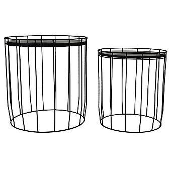 Charles Bentley Marble Effect Cage Side Table Set Black Metal Nesting Coffee Sofa End Night Bedside Stand Tables