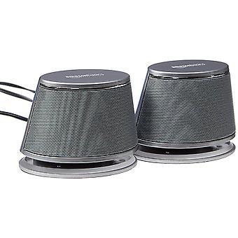 Altavoces de ordenador con alimentación USB de Amazonbasics con sonido dinámico plata, 4 paquetes de 4 pares