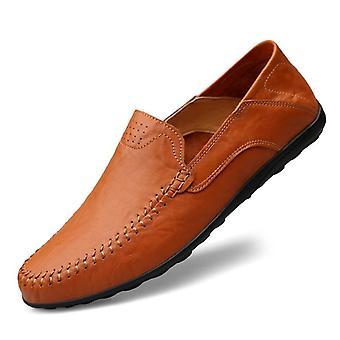 الجلود الأصلية الرجال عارضة الأحذية، الفاخرة المتسكعون تنفس وزلة على