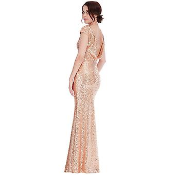 Champagne sequin open backed dress