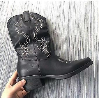 Flat Platform Cowboy Boots, Autumn Winter Fur Leather Fashion Round Toe High