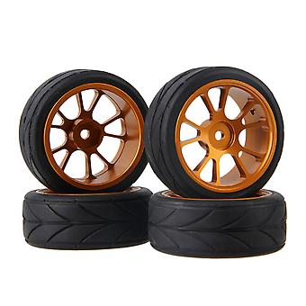 4pcs Gold Alloy 10 Spoke Wheel Rim Arrow Pattern Rubber Tyre for RC1:10 Car