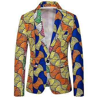YANGFAN Men's Casual One Button Slim Fit Blazer Ethnic Style Party Fashion Dress Suit Jacket