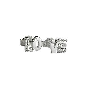 Stud Earrings Love Zirconia Silver 925
