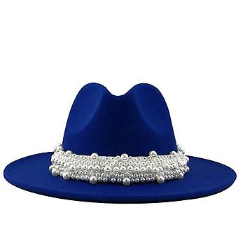 Women Men Wool Fedora Hat With Pearl Ribbon Gentleman Elegant Lady Winter