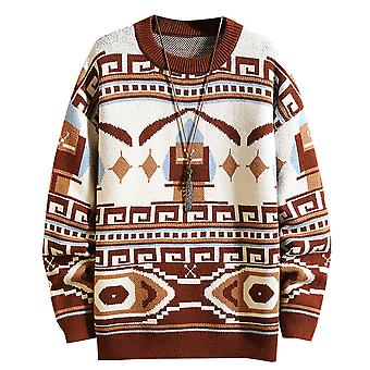 Yunyun Men's Multi-color Stitching Round Neck Casual Loose Fit Sweater
