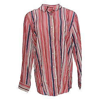 Laurie Felt Women's Top Striped Button-Down Blouse Pink A369044