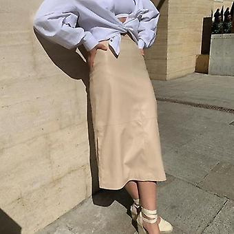Pu Leather High Waist Long Skirt