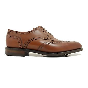 Loake Wembley Mahogany Burnished Calf Leather Mens Derby Lace Up Shoes