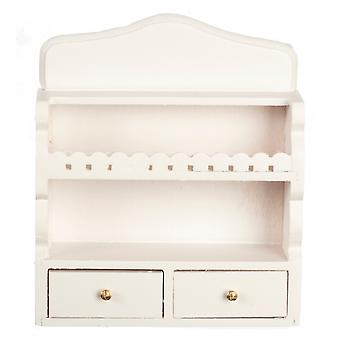 Dolls House White Wall Shelf Unit & Drawers Miniature Kitchen Shelves Furniture