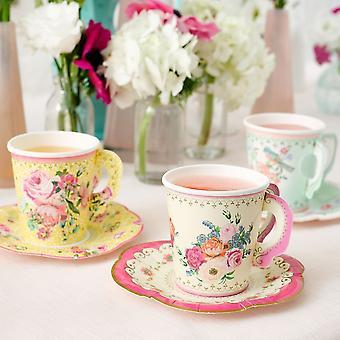 Partij Vintage bloemen stijl Paper Cups & schoteltjes x 12