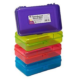 "Pencil Box - 2-1/2""H X 5-1/4""D X 8-1/4""W, Translucent Assorted Colors"