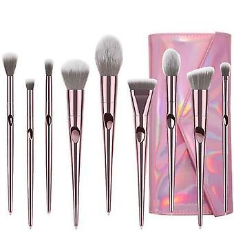 10 Long Rod Thumbprint Makeup Brushes