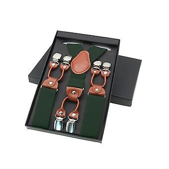Casual Braces, Elegant Leather, Shirt Suspenders, Adjustable 6-clip's