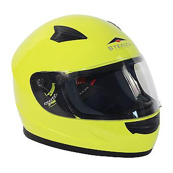 Stealth HD127  Kids Full Face Helmet - Fluoro Yellow