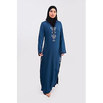 Djellaba farah long sleeve embroidered hooded maxi dress kaftan abaya in blue