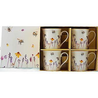 Tazas de diseño de abejas ocupadas de color de agua bonitas de Lesser & Pavey (conjunto de 4)