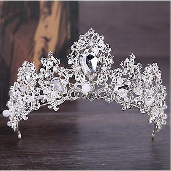 mote barokk luksus krystall ab brude krone, tiaraer lys gull, diadem brud
