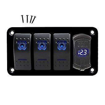 4 Gang marine boat rocker switch panel, 12v/24v waterproof rv led panel
