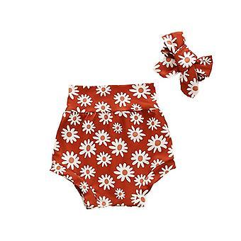 Nyári virágos szív szivárvány nyomtatási pamut rövidnadrág fejpánt újszülött