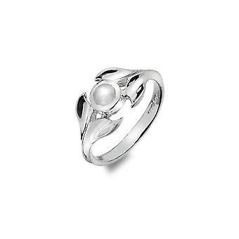 Sterling Silver Ring - Origines Baleines Queue + Moonstone