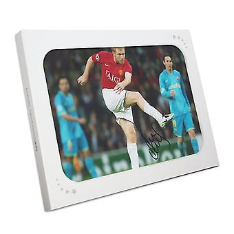 Paul Scholes Signed Manchester United Photo: Barcelona Unstoppable Strike. In Gift Box