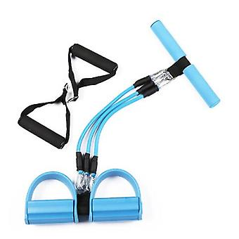 Blue 3-tube Multifunctional Pull Rope, Fitness Extender Pedal Pilates Resistance Band, For Arms, Waist