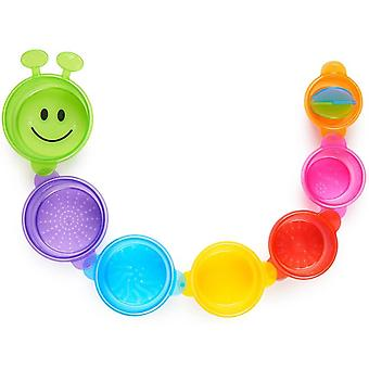 DZK Caterpillar Spillers Bath Toy, 7 Stacking Cups, Multi-Colour