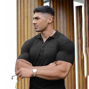 Polo Short Sleeve T-shirt, Men Fitness Slim Sport T-shirt
