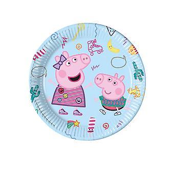 8 Assiettes en carton Peppa Pig 23 cm