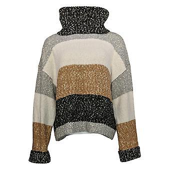 G.I.L.I. Got It Love It Women's Sweater Multi Yarn Turtleneck Bege A371855