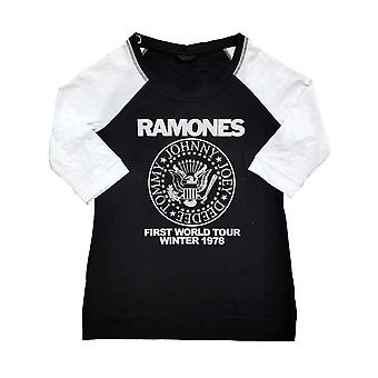 Ramones T Shirt Eerste World Tour 1978 Officiële Black Raglan 3/4 Sleeve Dames