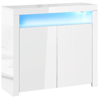 HOMCOM High Gloss LED Cabinet Cupboard Sideboard Console with RGB Lighting for Entryway, Dining Area, Living Room, White
