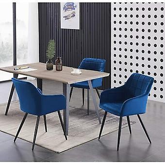 Lusso & Carmello Dining Set | Modern Dining Table | Velvet Dining Chair | Modern Set |  (light Walnut & Blue)