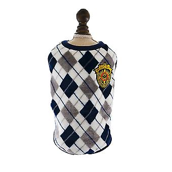 Dog cat clothes rhombus plaid flannel vest autumn and winter