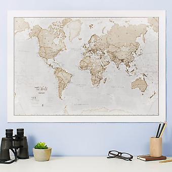 Medium The World Is Art - Wall Map Neutral (Silk Art Paper)