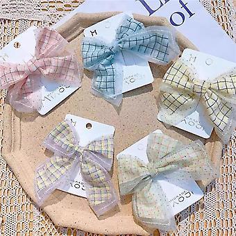 5Pcs children's plain bow barrettes for girls