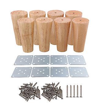 8pcs Wooden 12 x 4 x 6 cm Oblique Tapered Furniture Feets Tea Table Legs